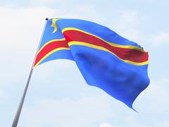 Congo flag flying on clear sky. Stock Illustration