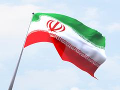 Stock Illustration of Iran flag flying on clear sky.