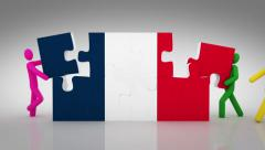 3D characters doing a French flag puzzle over white background. 2 in 1. - stock footage