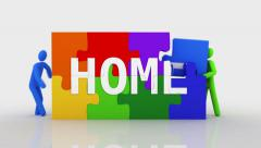 3D characters doing a puzzle with the word HOME. 2 in 1. Stock Footage