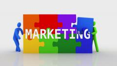 3D characters doing a puzzle with the word MARKETING. 2 in 1. Stock Footage