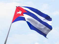 Cuba flag flying on clear sky. - stock illustration