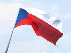 Stock Illustration of Czech Republic flag flying on clear sky.