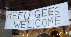 Handmade Banner Refugees Welcome Stock Footage