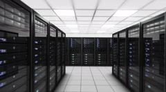 Computer servers in a Data Center. Loopable. Blue. Technology Background. - stock footage