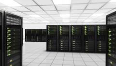 Computer servers in a Data Center. Loopable. Green. Technology Background. Stock Footage