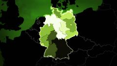World map with German: Airports, Roads and Railroads. Loopable. Green. Stock Footage