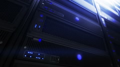 Computer servers in Data Center. detail shot. Loopable. Blue. 3 in 1.  Stock Footage
