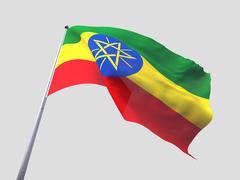 Ethiopia flying flag isolate on white background. - stock illustration