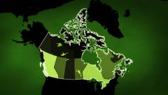 Canadian map with Airports, Roads and Railroads. Green. Loopable. Stock Footage