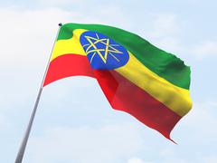 Ethiopia flag flying on clear sky. - stock illustration