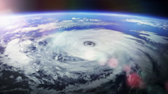 Huge hurricane seen from space with flares. 2 in 1. Stock Footage