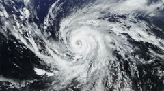 Huge hurricane seen from space. Alpha matte. 2 in 1. - stock footage