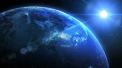 Beautiful Earth rotating with cinematic look. Loopable. Blue. Close up left. Stock Footage