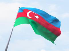 Stock Illustration of Azerbaijan flag flying on clear sky.