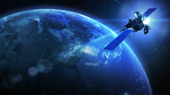 Rotating Earth with satellite. Blue. Close up left. Loopable. Stock Footage