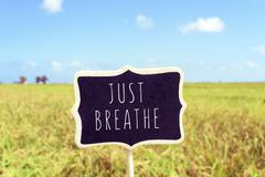 signboard with the text just breathe in a peaceful landscape - stock photo