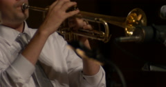 Jazz musician plays solo trumpet on the stage Stock Footage