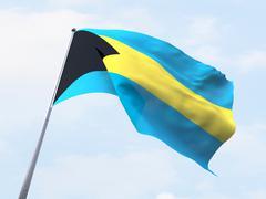 Bahamas flag flying on clear sky. Stock Illustration