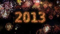 Fireworks with New Year greeting. 2013. Stock Footage