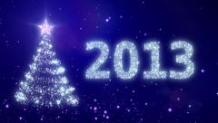New Year background with bright snow. 2013. Christmas tree. Loopable - stock footage