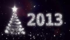 New Year background with bright snow. 2013. Christmas tree. Loopable. Stock Footage