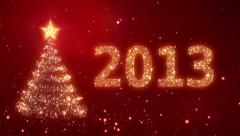 New Year background with bright snow. 2013. Christmas tree. Loopable. - stock footage