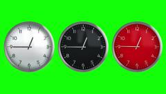 3 Classic wall clocks. 12 hours time lapsed. Loopable. Stock Footage
