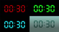 4 Digital clock with 12 hours. Loopable. 4 in 1. Stock Footage