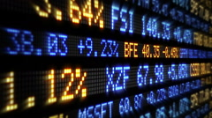 Stock Market Tickers. Loopable. Blue and Orange. Lateral view. 2 in 1. Stock Footage