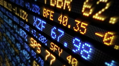 Stock Market Tickers, economy background. Loopable. Lateral view. Stock Footage