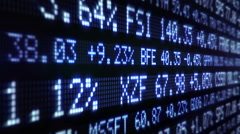 Stock Market Tickers. Loopable. Blue and Green. Lateral view. 2 in 1. Stock Footage