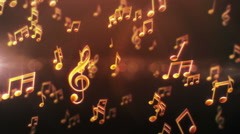 Musical notes passing by. Yellow-Green. Loopable. 2 colors in 1 file. Stock Footage