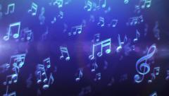 Colorful musical notes passing by. Blue-Pink. Loopable. 2 colors in 1 file. Stock Footage