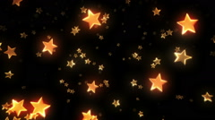 Colorful stars falling and passing by. Yellow. Loopable. 3D animation. 2 in 1. Stock Footage