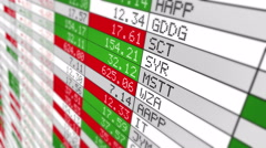 Stock Market Tickers. Loopable. White. Zoom out. 3 in 1. - stock footage