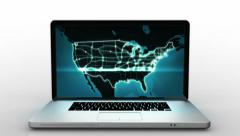 Aluminum laptop with blue US map video on the screen. 2 in 1. - stock footage