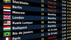 Airport departure board. Black-Blue. Lateral/frontal view. Loopable. 2 in 1. Stock Footage