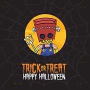 Halloween Trick or Treat Monster Costume - stock illustration