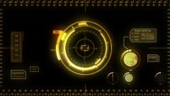 Digital Hud. Yellow. Futuristic computer interface. Loopable. Stock Footage