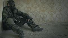 Soldier waiting Stock Footage