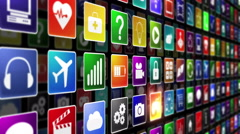 Colorful mobile or computer application icons. Loopable. Technology background. Stock Footage