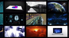 Journey through a video wall ending on a green screen. Multiple themed. Stock Footage
