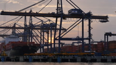 Cartagena containers sundown Stock Footage