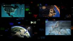 Video wall. Selection of screens showing geography themed videos. Loopable. - stock footage