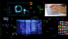 Video wall. Selection of screens showing multiple technology themed clips. Stock Footage