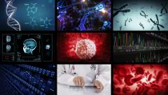 Video screens showing multiple medical clips. Video wall. - stock footage