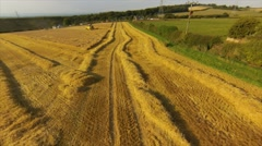 AEREAL VIEW: Combine harvester and tractor picking up in barley field Stock Footage