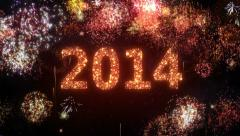 Fireworks with New Year greeting. 2014. Holiday background.  Stock Footage