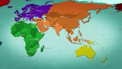 World map with connections and cities. Loopable. Multicolored. Stock Footage